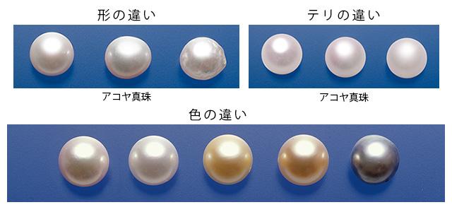 真珠:形・テリ・色の違い